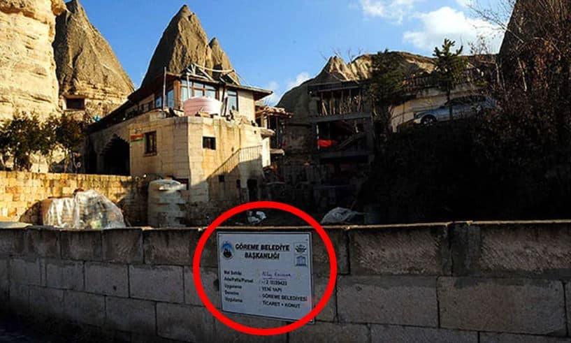 kapadokya peri bacaları göreme otel inşaatı