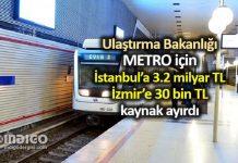 Metro için İstanbul 3.2 milyar TL, İzmir ise 30 bin TL ayrıldı
