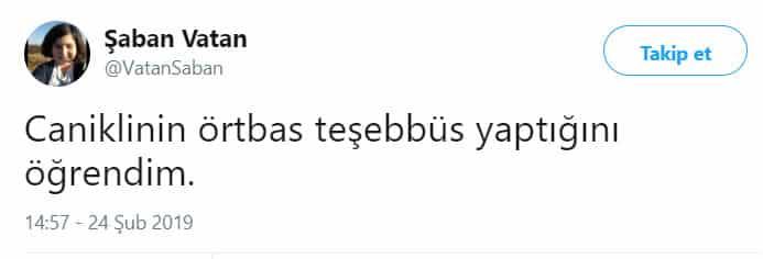şaban vatan canikli örtbas iddiası twitter paylaşımı