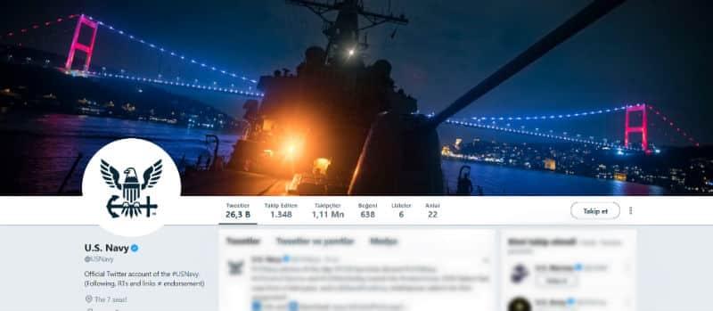 ABD Donanması'nın top namlusunu Boğaz Köprüsüne çeviren Twitter kapak fotoğrafı
