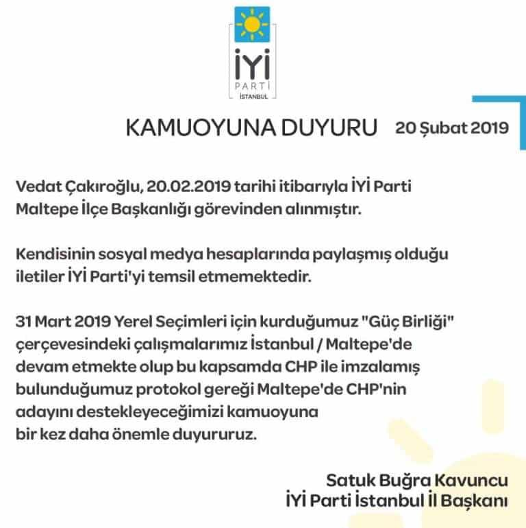 İYİ Parti İstanbul İl Başkanı Buğra Kavuncu maltepe