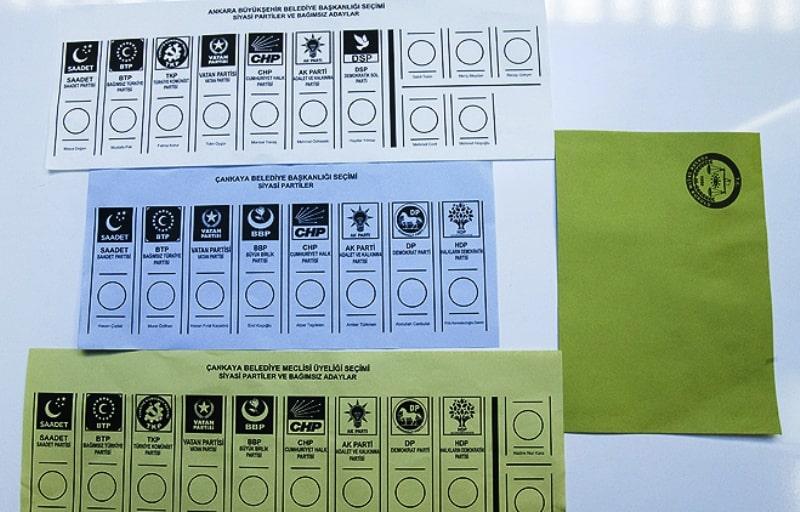 Oy pusulası ve siyasi partilerin yerleri:
