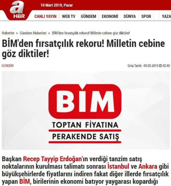 A Haber yer alan BİM haberinin manşeti şöyle: