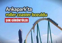 Ankapark ta roller coaster bozuldu; insanlar yüksekte kaldı!