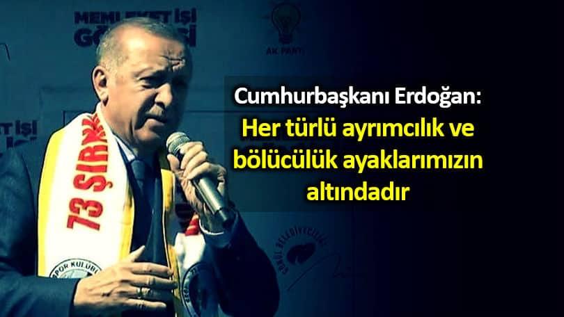 Erdoğan: Her türlü ayrımcılık ve bölücülük ayaklarımızın altındadır