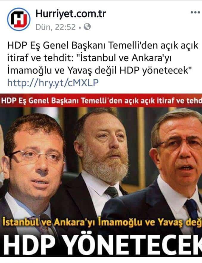 hürriyet gazetesi ekrem imamoğlu sezai temelli hdp istanbul ve ankara yı hdp yönetecek manşeti