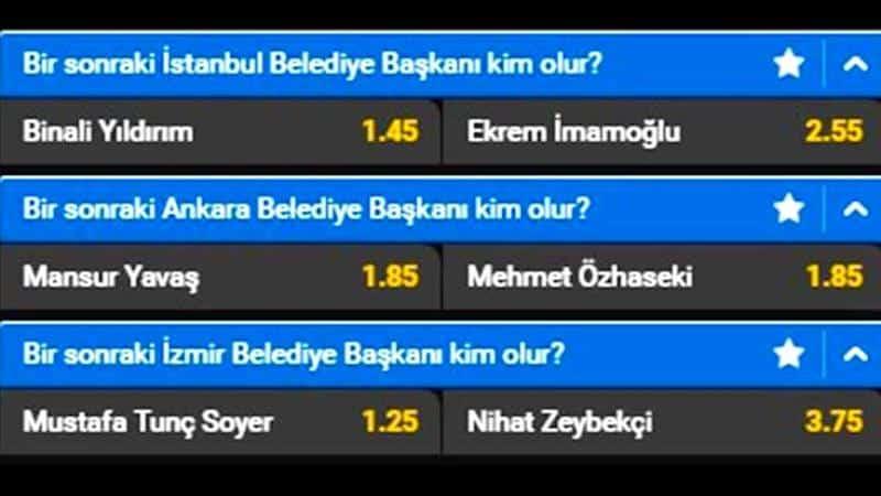İstanbul, Ankara, İzmir için seçim bahisleri açıldı!
