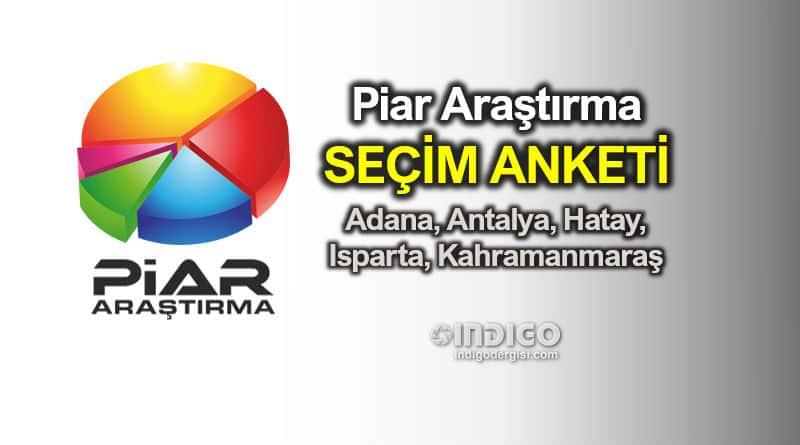 Piar seçim anketi: Adana, Antalya, Hatay, Isparta, Kahramanmaraş