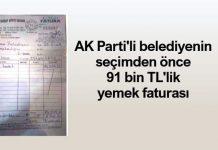 AK Parti tokat erbaa belediyesi seçimden önce 91 bin TL yemek faturası