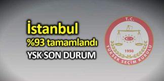 İstanbul seçim sonuçları son durum: Yüzde 93 tamamlandı!