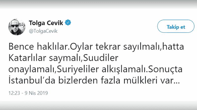 Tolga Çevik: İstanbul'da oyları Katarlılar saysın, Suriyeliler onaylasın