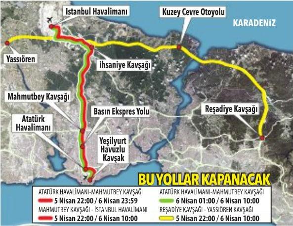 trafiğe kapalı yollar istanbul büyük göç