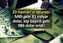 23 Haziran faturası Milli gelir 81 milyar dolar eridi!