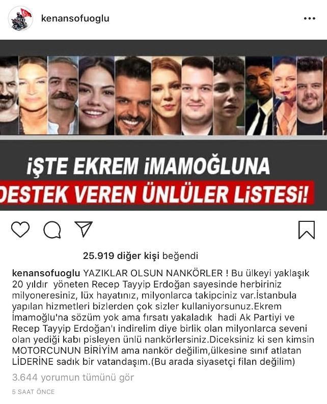 Kenan Sofuoğlu ekrem İmamoğlu destek olan sanatçılara: Erdoğan sayesinde milyonersiniz