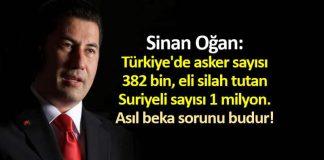 sinan oğan: Türkiye asker sayısı 382 bin, eli silah tutan Suriyeli sayısı 1 milyon