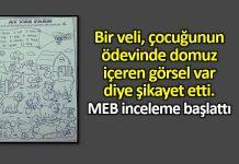 Veli ödevdeki domuz görselini şikayet edince MEB inceleme başlattı