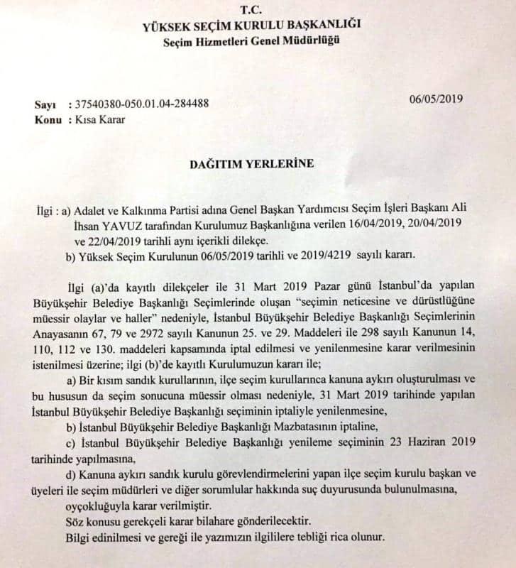 YSK'nın 6 Mayıs'ta astığı kısa karar
