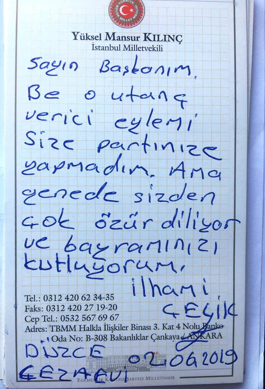Kemal Kılıçdaroğlu'na özür mektubu