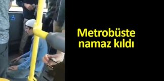 metrobüste namaz kılan adam görüntüleri video