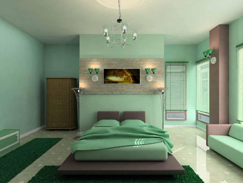 mint yeşili (nane) yatak odası