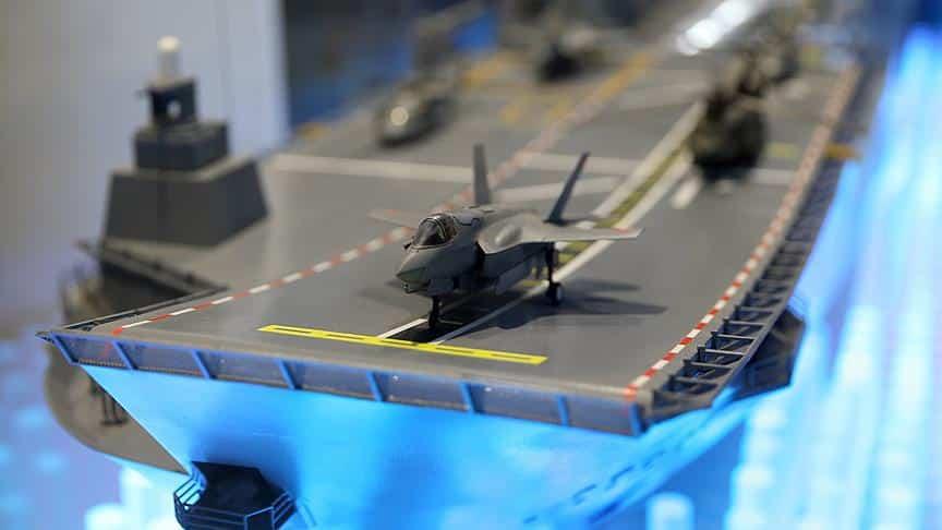 TCG Anadolu Maketinde F-35B Uçakları Görülmekte