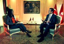 Ekrem İmamoğlu BBC muhabiri badawi Arapça tabela yanıtı