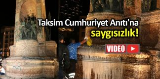Taksim Cumhuriyet Anıtı na saygısızlık: Sprey boya ile yazı yazdılar!