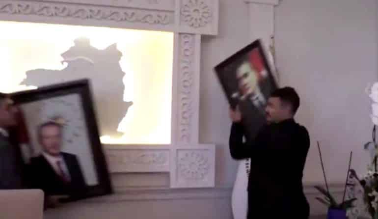 Van Valiliği açıklama: Atatürk ün küçük portresi yerine büyük portresi asıldı erdoğan portresi kayyum