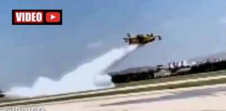 Uçamaz denilen THK uçakları yangın söndürme tatbikatı yaptı