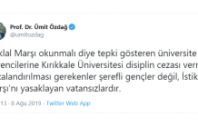 ümit özdağ kırıkkale üniversitesi İstiklal Marşı okunsun diyen gençlere disiplin cezası!