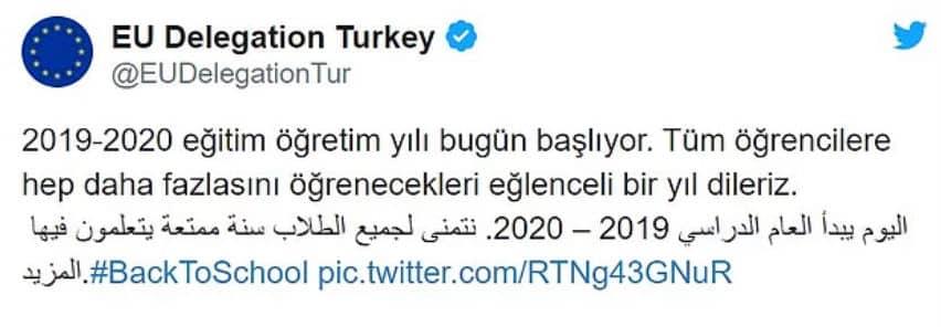 Ardından AB Türkiye Delegasyonu Türkçe ve Arapça olarak paylaşmıştı