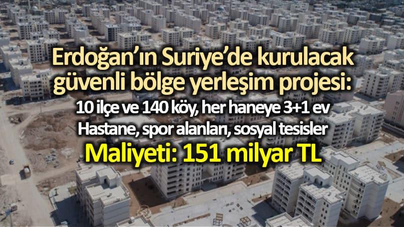 Erdoğan ın Suriye de güvenli bölge projesi maliyeti 151 milyar lira