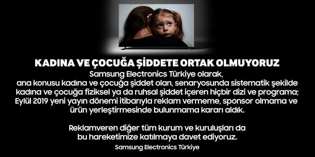 samsung electronics türkiye kadın çocuk şiddet reklam sponsorluk
