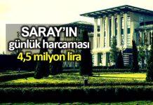 Saray ın günlük harcama maliyeti 4,5 milyon lirayı aştı!
