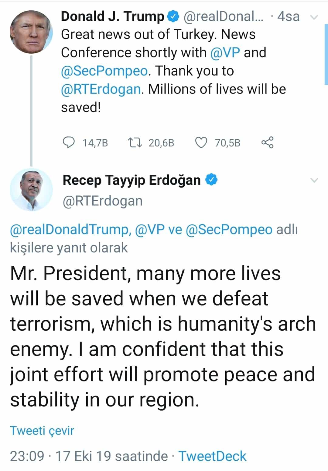 Erdoğan Pence trump ateşkes