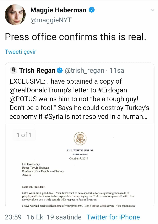 Trump erdoğan letter white house confirms