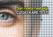 Sarı nokta hastalığı için Amsler Grid (Çizgili Kare) Testi
