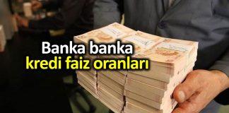 Banka banka kredi faiz oranları: Taşıt, konut ve ihtiyaç kredisi
