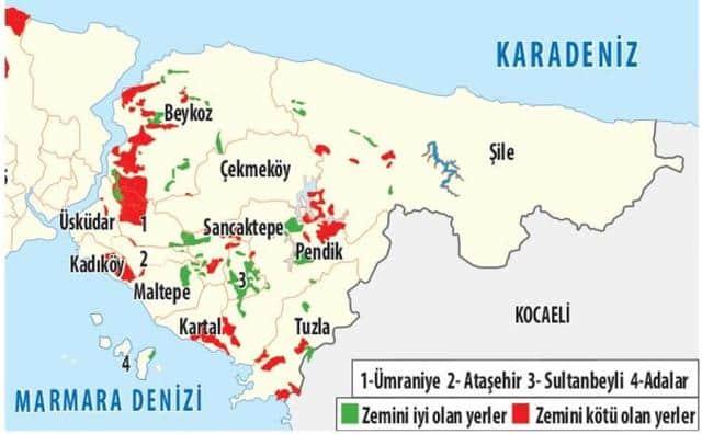 istanbul anadolu Yakası sağlam kötü zeminli ilçeleri