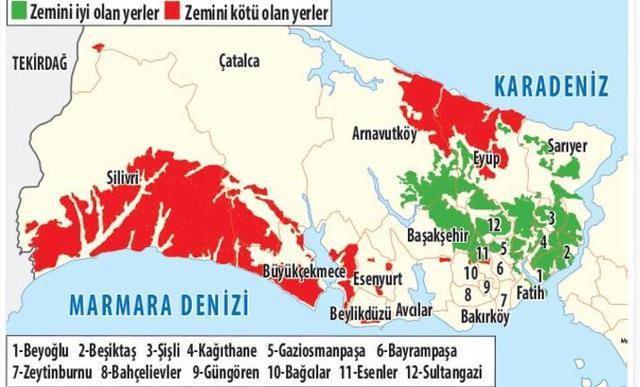 istanbul Avrupa Yakası sağlam kötü zeminli ilçeleri
