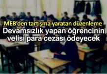 MEB düzenleme: Devamsızlık yapan öğrencinin velisine para cezası