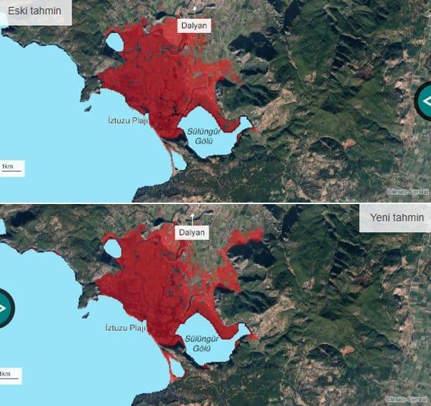 Dalyan, Köyceğiz Muğla iklim değişikliği sel su baskını