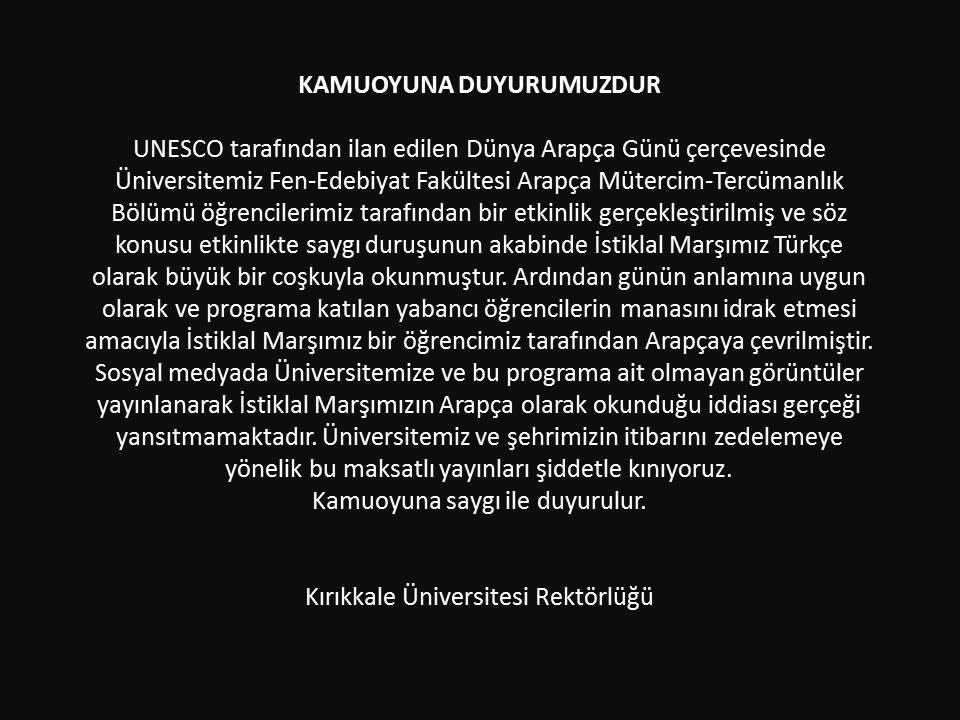 kırıkkale üniversitesi arapça istiklal marşı açıklaması