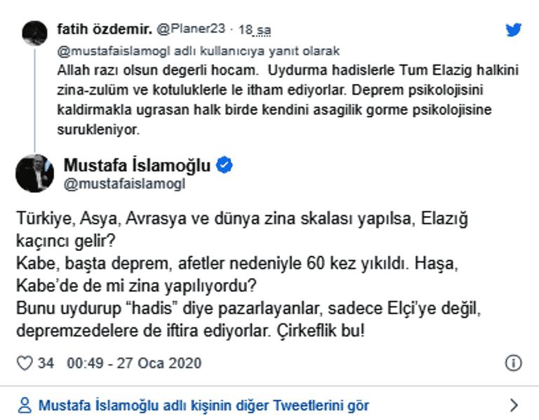 mustafa islamoğlu elazığ depremi zina