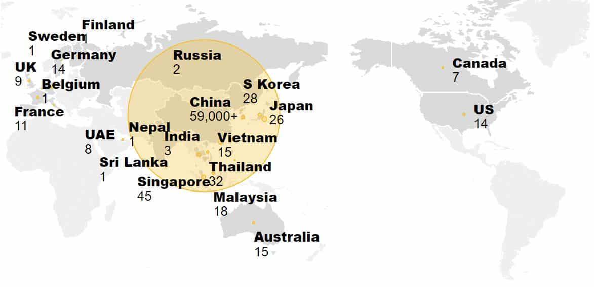 coronavirus cases world map