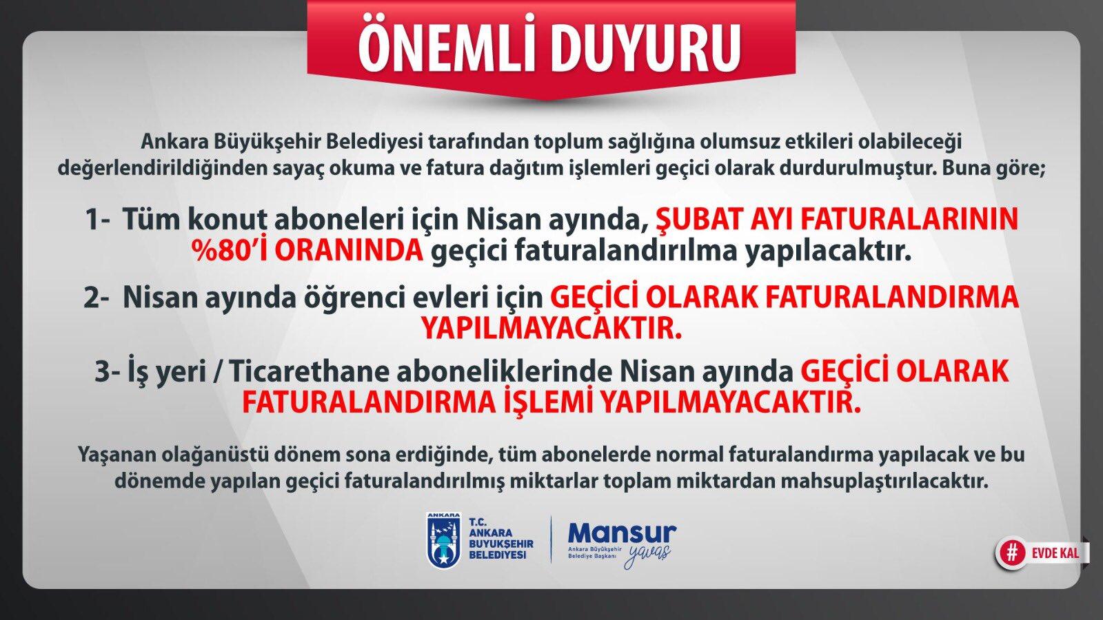 ankara büyükşehir belediyesi sayaç okuma faturalandırma