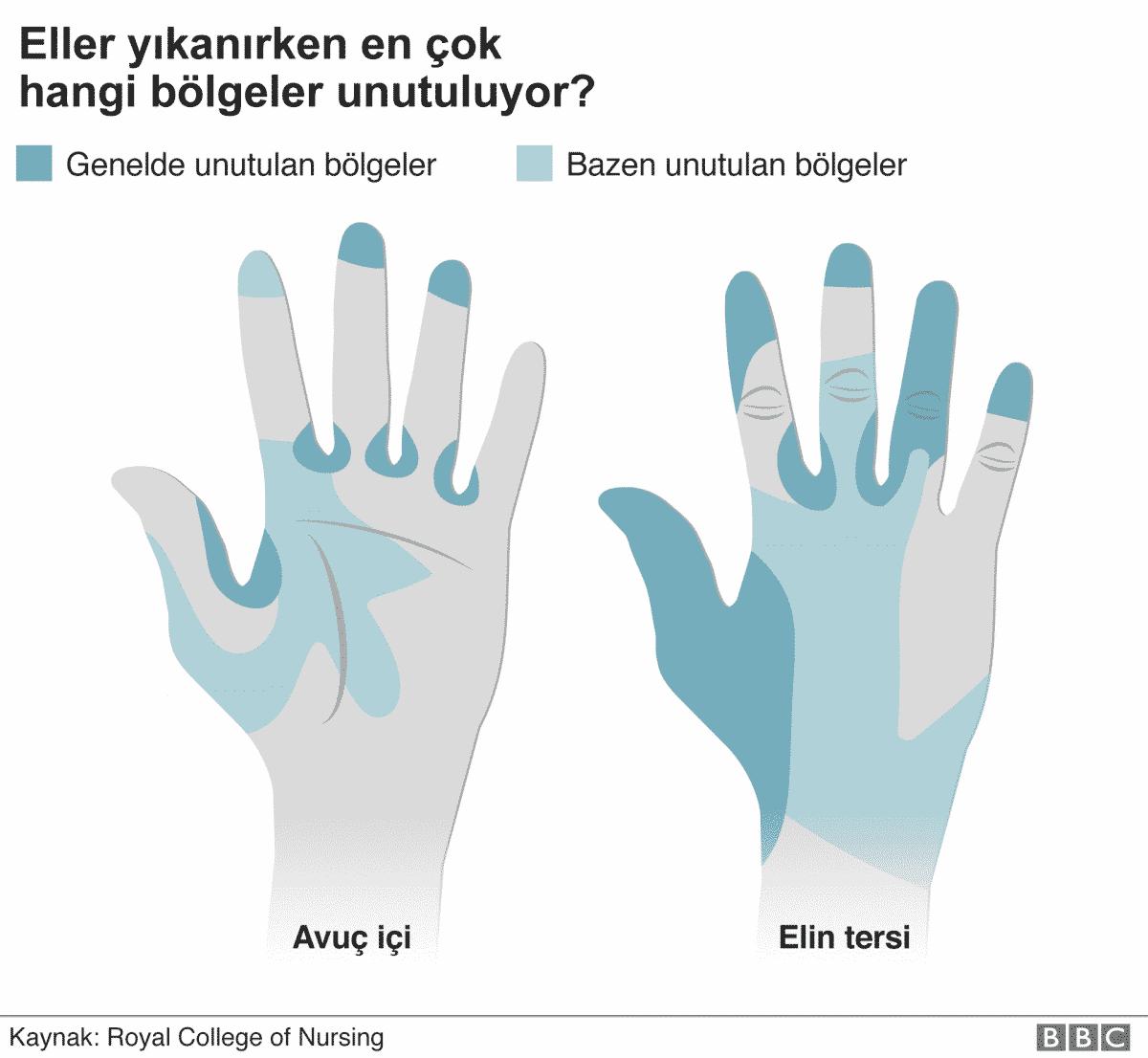 elleri yıkarken en çok hangi bölgeler unutuluyor