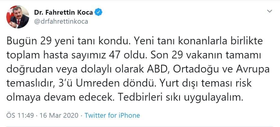 Sağlık Bakanı Fahrettin Koca: Vaka sayısı 47'ye çıktı!