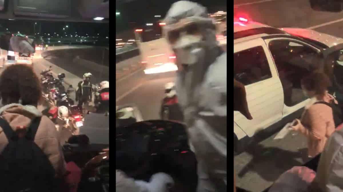 karantinaya gitmesi gereken kadın polisler eşliğinde otobüsten alındı