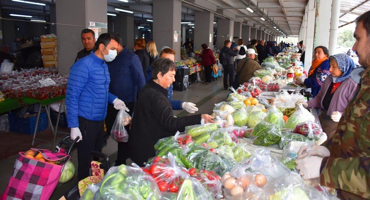 marmaris pazarı corona koronavirüs önlemleri ambalajlı ürünler